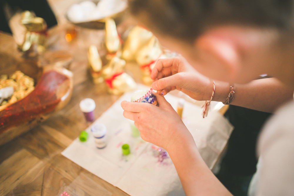 Woman making crafts on New Year's Eve 2020