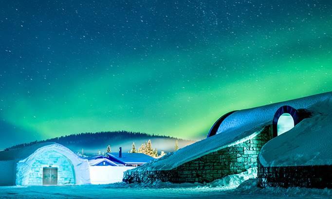 Dinner on ice at Brandon Lodge, Sweden