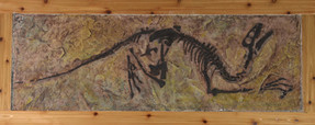"""Dromaeosaurus Bonebed, This piece is  approx 150 pounds, 82"""" by 28"""" plus frame."""