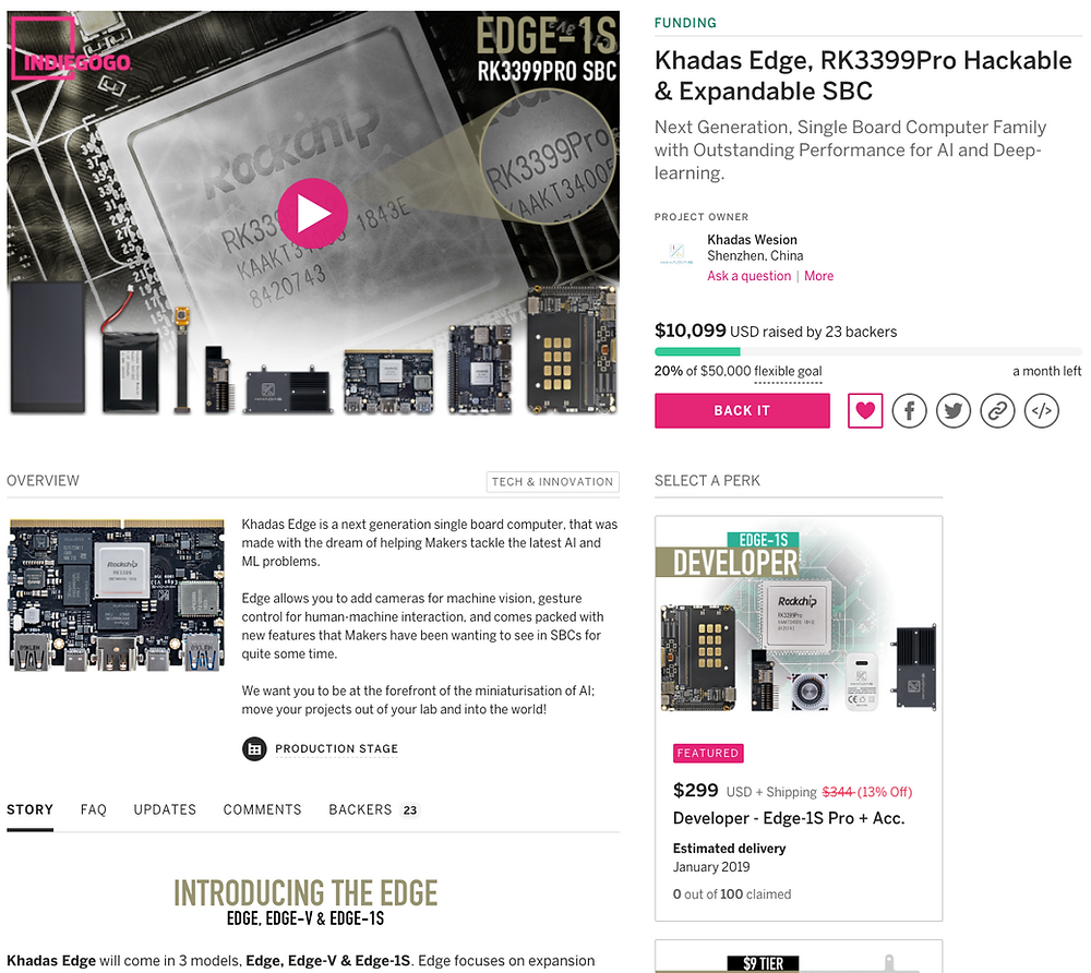 Khadas Edge - Indiegogo Launch Page