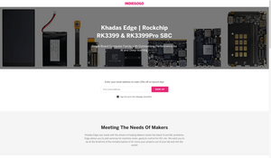 Khadas Edge pre-launch page on indiegogo.com.