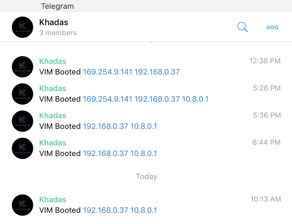 My Khadas VIM sends a notification to Telegram containing it's IP address upon boot up.