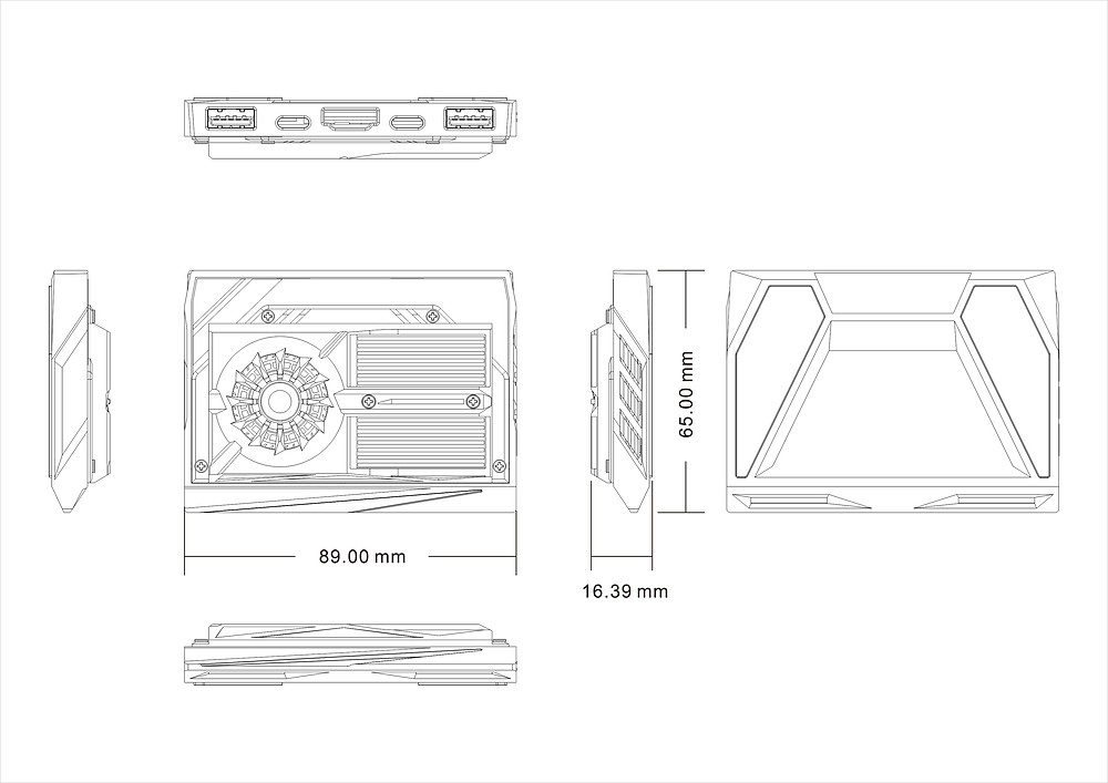 Dimensions of the NextC case. It's slimmer than the DIY case!
