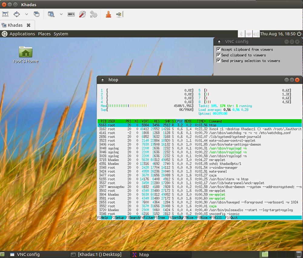 Khadas VIM's Remote Desktop, as seen through Remmina (Ubuntu 16.04)