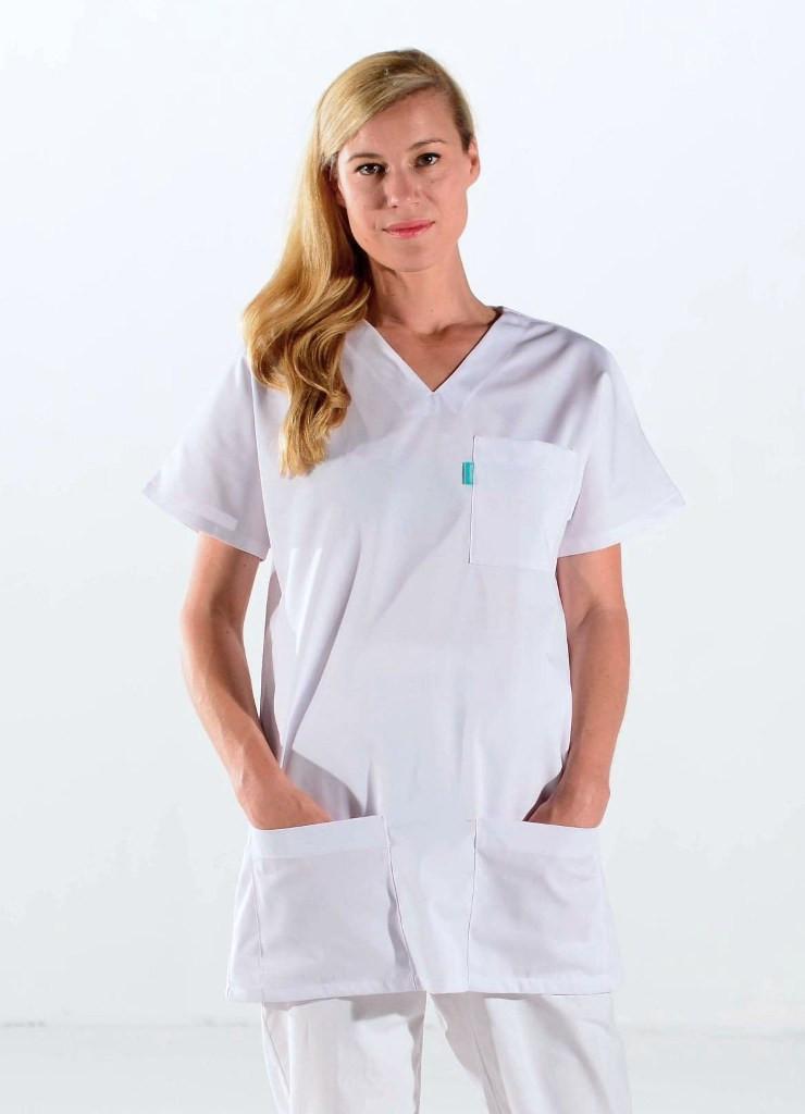 Tunique médicale blanche unisexe
