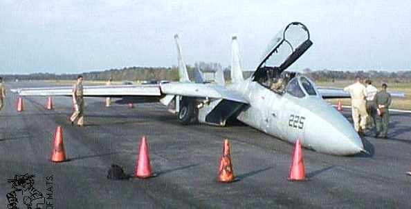 F-14 after a Gear-Up Landing at Fentress. Pilot earns a call-sign: GULF