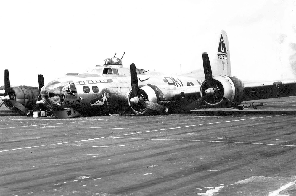 B-17, Dutchess' Daughter, after a belly landing. (July 6, 1944)