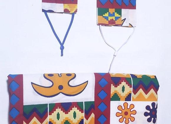 Rectangle Pleat - White Adinkra Kente Parent & Child Mask Set