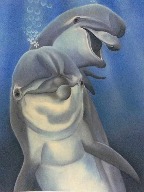 """""""Come Play"""" the dolphin painting"""