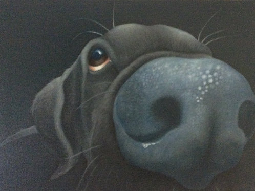 """Inky"" the black labrador painting"