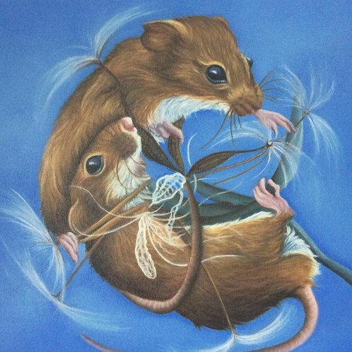 Harvest mice painting