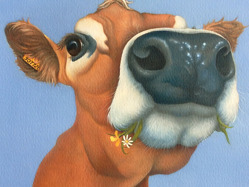 """""""Busy Lizzie"""" the jersey cow painting"""