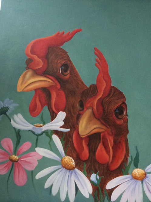ex-battery chickens painting