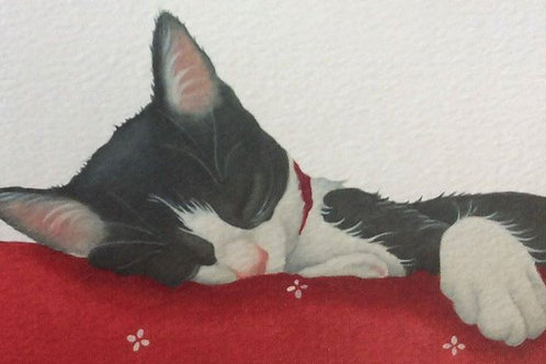 black and white cat painting