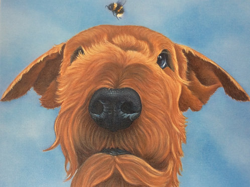 Airedale terrier painting
