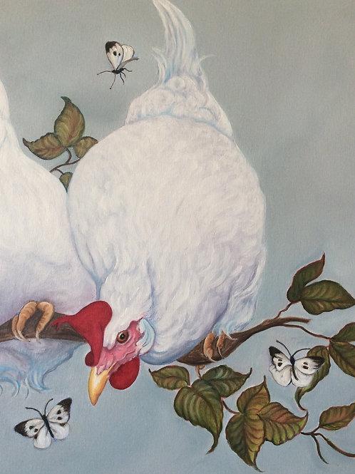 """The Three Amigos"" white leghorn chicken painting"