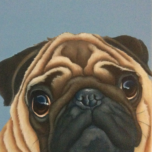 Fawn pug painting