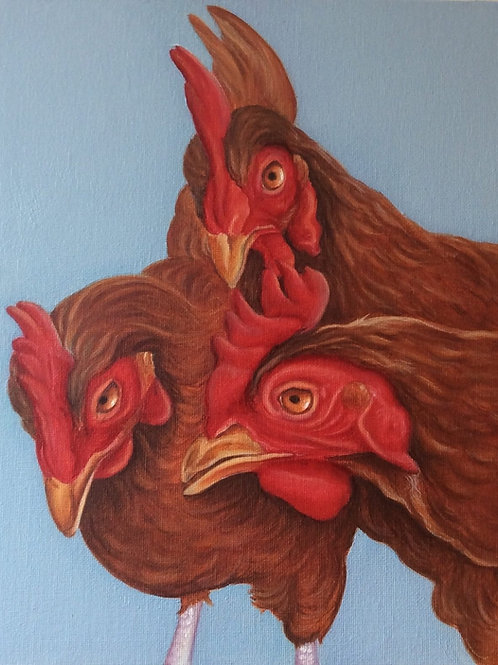 chicken battery hens painting