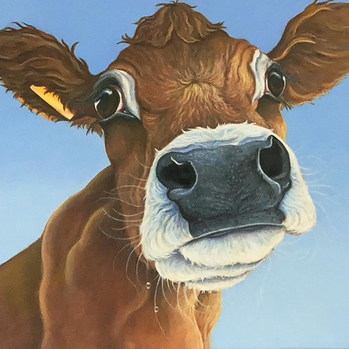 jersey cow painting print