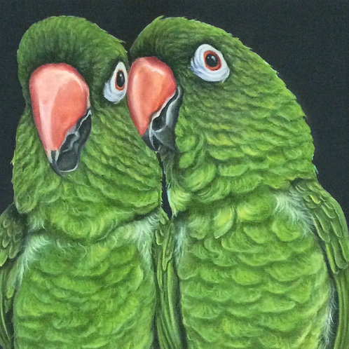 Green parrots painting