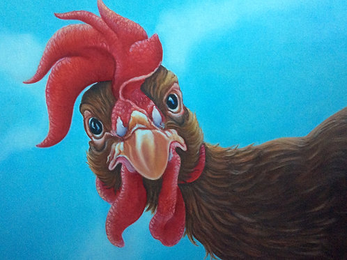 ex battery hen chicken painting