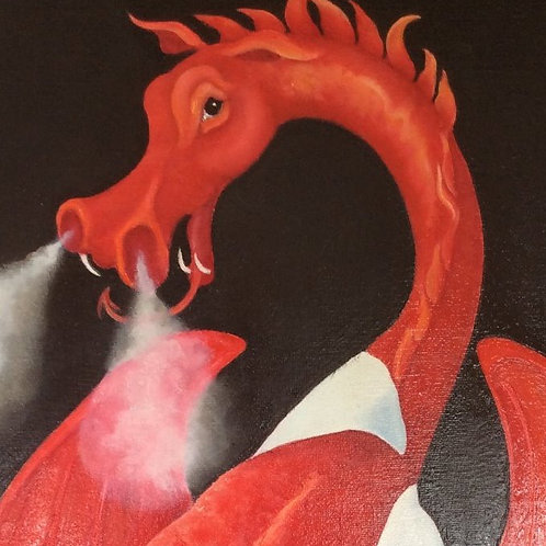 """Dai Coch"" the Welsh dragon painting"