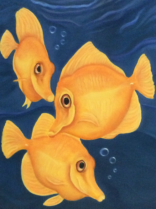 """Yellow Flash"" the yellow tang fish painting"