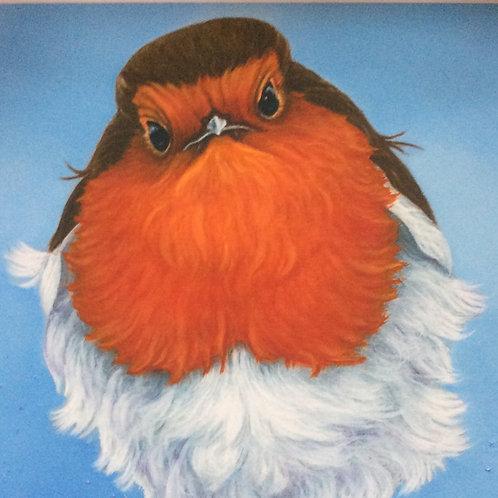 Grumpy Robin the robin painting