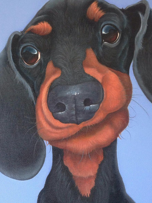 Slinky the dachshund painting