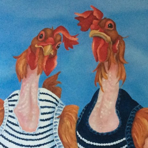 """The Knit Wits"" the ex battery hens painting"