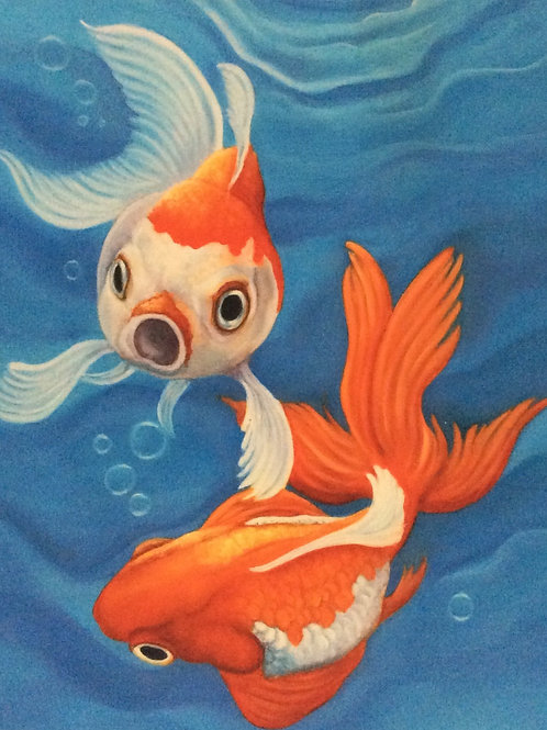 Bubbles the goldfish painting