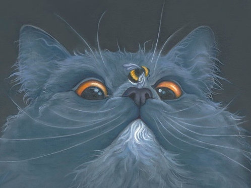 Grey cat painting