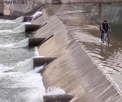 Cyclist on the dam