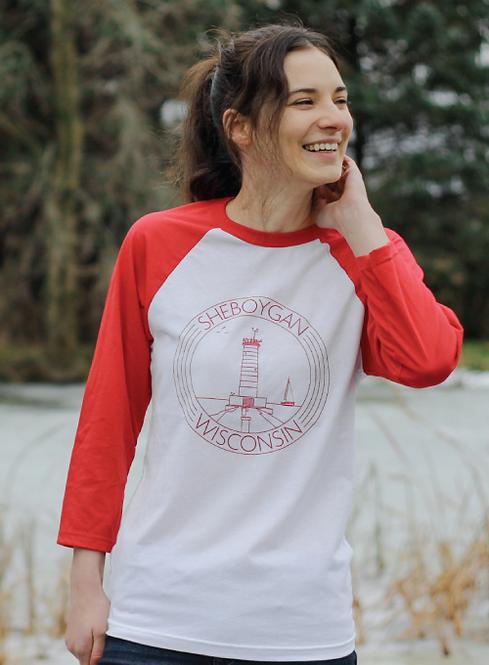 Sheboygan Lighthouse Raglan 3/4 Sleeve