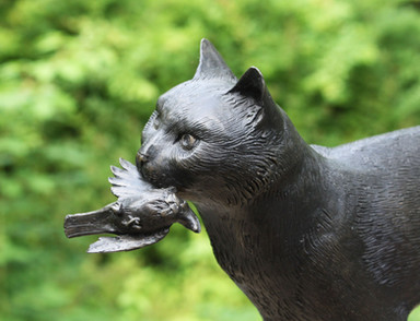 Cat with Bird, detail