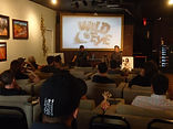 Glen Coburn with Wild Eye's Rob Hauschild at Pollygrind Vegas aftera panel discussion regarding the history of film in Quebec.
