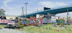 Valeri Larko - Bronx Scrap Yard (study)