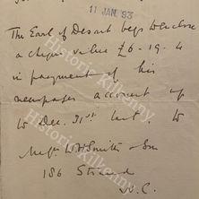 William Cuffe letter 1893