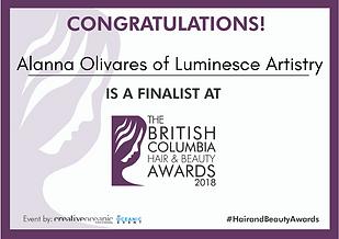 Alanna Olivares of Luminesce Artistry 2018 BC Hair & Beauty Finalist