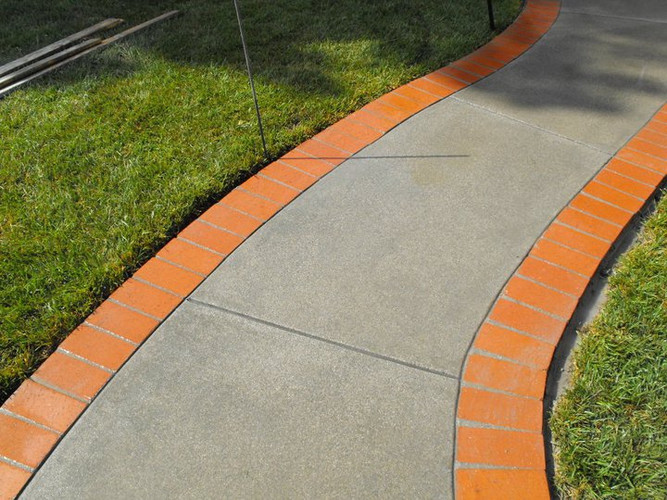 Concrete Pathway with Brick Ribbons