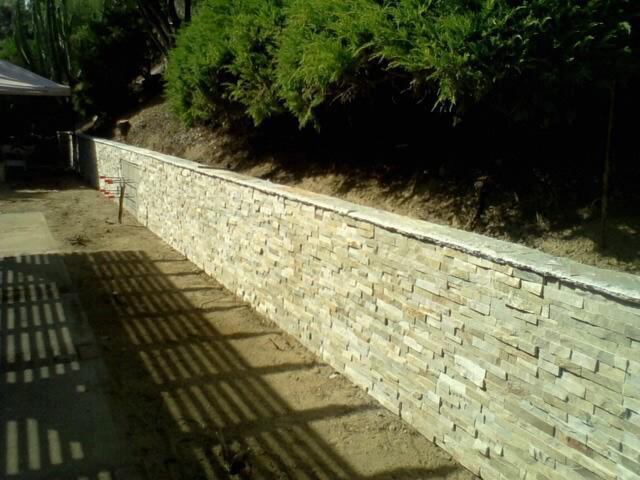 Block Wall with Stone Veneer
