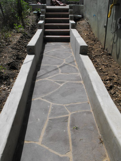 Flagstone Pathway with Side Walls