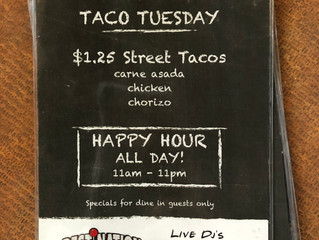 Tuesday: Tacos and Happy Hour