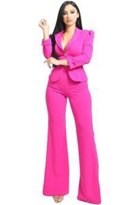 Emily -  2pc Tailored Pants Set - Pink
