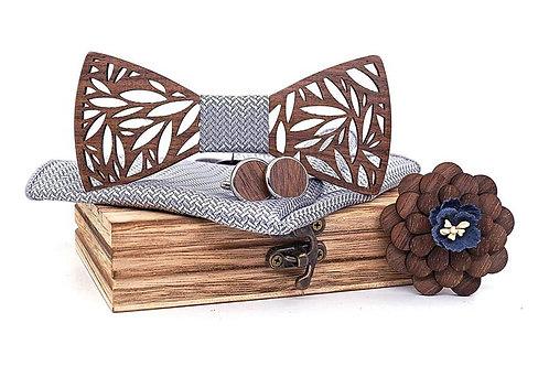 Luxury Wood Bow Tie Set - Gray