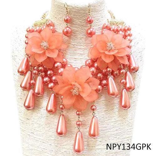 Eva - Flower Drop Necklace Set