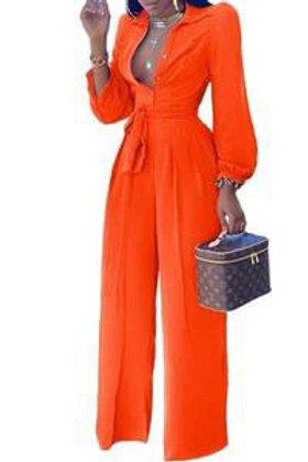 Joy - Long Sleeve Jumpsuit - Orange