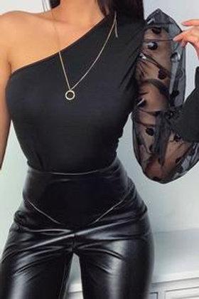 Eliana - One Shoulder Polka Dot Top - Black