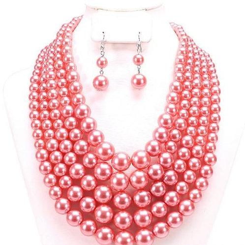 Madison - 5 Strand Pearl Necklace Set