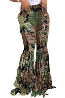 Cora - Camouflage Bell Bottom Pants